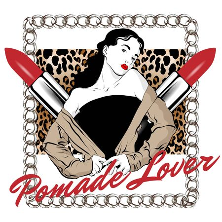 Pomade lover. Vector hand drawn illustration of girl with chain and leopard print isolated. Creative artwork. Template for card, poster, banner, print for t-shirt, pin, badge, patch. 矢量图像