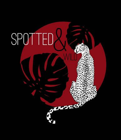 Spotted & wild. Vector  hand drawn  illustration of cheetah with palm leaves isolated. Creative  artwork. Template for card, poster, banner, print for t-shirt, label,  patch. Illusztráció