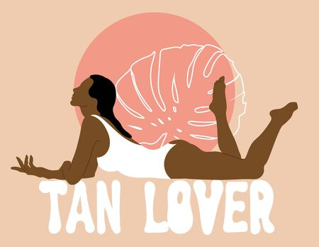 Tan lover. Vector hand drawn illustration of woman with palm leave isolated. Creative artwork.  Template for card, poster, banner, print for t-shirt, pin, badge, patch.