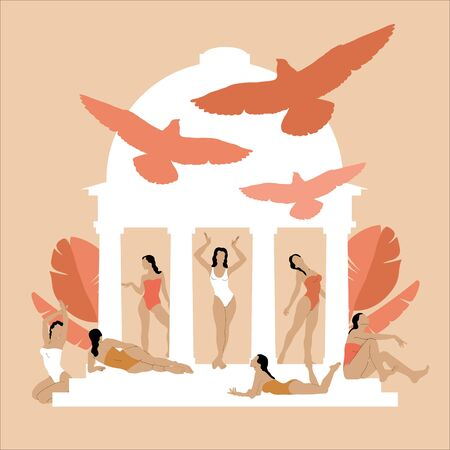 Vector  hand drawn illustration of girls in swimsuits in glazebo with birds isolated. Creative artwork.  Template for card, poster, banner, print for t-shirt, pin, badge, patch.