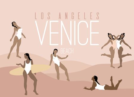 Los Angeles. Venice Beach.  Vector  hand drawn illustration of women in swimsuits .  Creative artwork with minimalistic landscape.  Template for card, poster, banner, print for t-shirt, pin, badge, patch. Ilustração