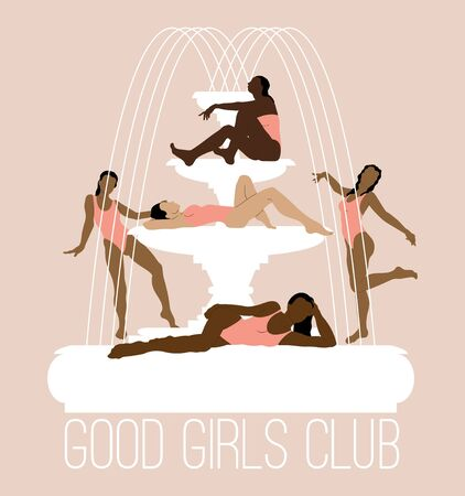 Good girls club. Vector  hand drawn illustration of girls in swimsuits on fountain isolated. Creative artwork.  Template for card, poster, banner, print for t-shirt, pin, badge, patch. Banque d'images - 142727490