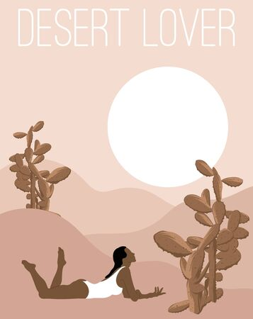 Desert lover. Vector  hand drawn illustration of lying woman in swimsuit . Artwork with minimalistic landscape.   Template for card, poster, banner, print for t-shirt, pin, badge, patch.