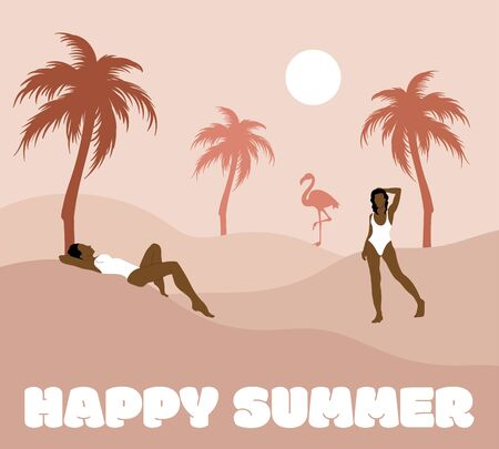 Happy summer. Vector hand drawn illustration of women in swimsuits with palms and flamingo . Creative artwork. Template for card, poster, banner, print for t-shirt, pin, badge, patch.