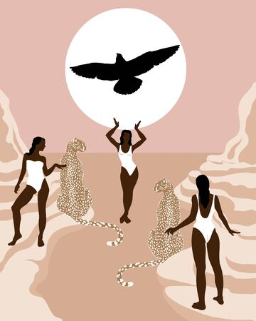 Vector  hand drawn illustration of girls in swimsuits on rocks with cheetah and silhouette of eagle.  Creative artwork.  Template for card, poster, banner, print for t-shirt, pin, badge, patch.