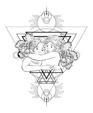 Vector  hand drawn  illustration of hugging cupids . Creative tattoo artwork with geometrical composition. Template for card, poster, banner, print for t-shirt, pin, badge, patch.