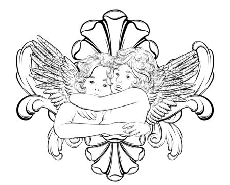 Vector  hand drawn  illustration of hugging cupids with wings and rococo frame . Creative tattoo artwork. Template for card, poster, banner, print for t-shirt, pin, badge, patch.