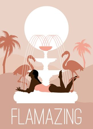 Flamazing. Vector  hand drawn illustration of girl on the fountain with flamingo and palms.  Creative artwork . Template for card, poster, banner, print for t-shirt, pin, badge, patch. Ilustrace