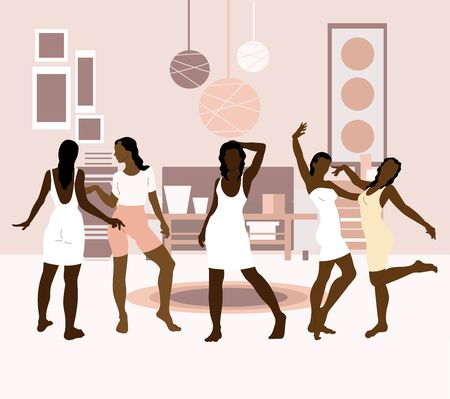 Vector  hand drawn illustration of girls in the room.  Creative artwork. Template for card, poster, banner, print for t-shirt, pin, badge, patch.