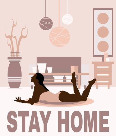 Stay home. Vector hand drawn illustration of lying girl in the room. Creative artwork. Template for card, poster, banner, print for t-shirt, pin, badge, patch.