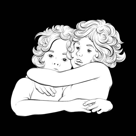 Vector hand drawn illustration of hugging cupids . Creative artwork. Template for card, poster, banner, print for t-shirt, pin, badge, patch.