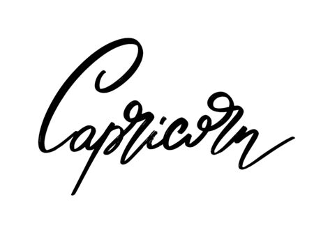 Capricorn. Vector hand drawn lettering  isolated. Template for card, poster, banner, print for t-shirt, pin, badge, patch.