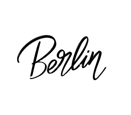 Berlin. Vector hand drawn lettering  isolated. Template for card, poster, banner, print for t-shirt, pin, badge, patch.