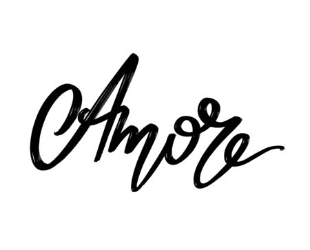 Amore. Vector hand drawn lettering  isolated. Template for card, poster, banner, print for t-shirt, pin, badge, patch.