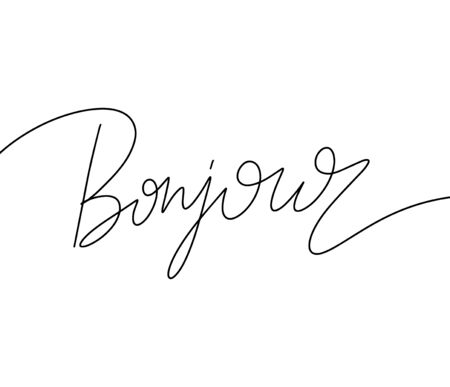 Bonjour. Vector hand drawn lettering  isolated. Template for card, poster, banner, print for t-shirt, pin, badge, patch. Illustration