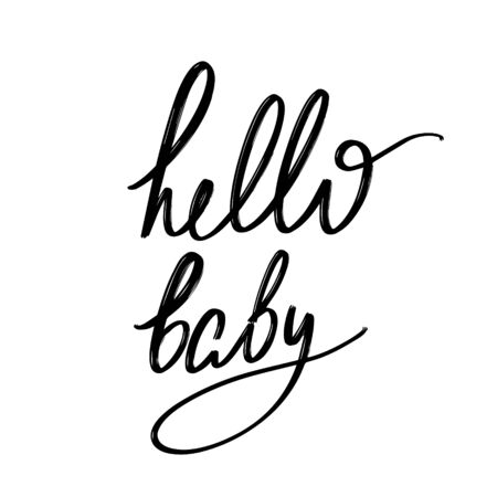 Hello baby. Vector hand drawn lettering  isolated. Template for card, poster, banner, print for t-shirt, pin, badge, patch. Ilustração