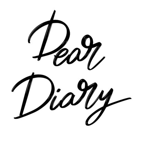 Dear diary.  Vector hand drawn lettering  isolated. Template for card, poster, banner, print for t-shirt, pin, badge, patch.