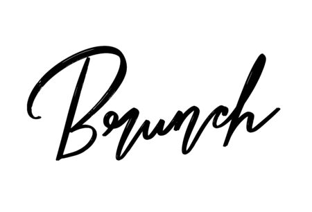 Brunch. Vector hand drawn lettering  isolated. Template for card, poster, banner, print for t-shirt, pin, badge, patch. Ilustração