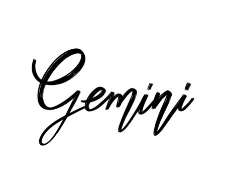 Gemini. Vector hand drawn lettering  isolated. Template for card, poster, banner, print for t-shirt, pin, badge, patch.