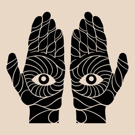 Vector hand drawn illustration of human hands isolated. Tattoo artwork. Template for card, poster, banner, print for t-shirt, pin, badge, patch.