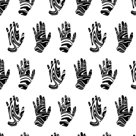 Vector pattern with  hand drawn illustration of human hands. Template for card, poster, banner, print for t-shirt, pin, badge, patch.