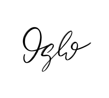 Oslo. Vector hand drawn lettering  isolated.  Handwritten inscription. Template for card, poster, banner, print for t-shirt, pin, badge, patch. 版權商用圖片 - 148456518