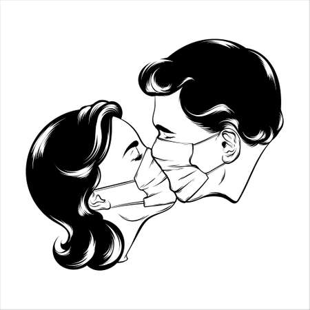 hand drawn illustration of kissing couple isolated. Creative tattoo artwork. Template for card, poster, banner, print for t-shirt, pin, badge, patch. Stok Fotoğraf - 153658547