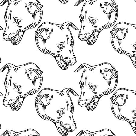 pattern with hand drawn illustration of jack russel terier dog isolated. Tattoo artwork. Template for card, poster, banner, print for t-shirt, pin, badge, patch.