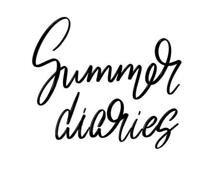 Summer diaries. Vector hand drawn lettering isolated. Template for card, poster, banner, print for t-shirt, pin, badge, patch. Stok Fotoğraf - 153041084