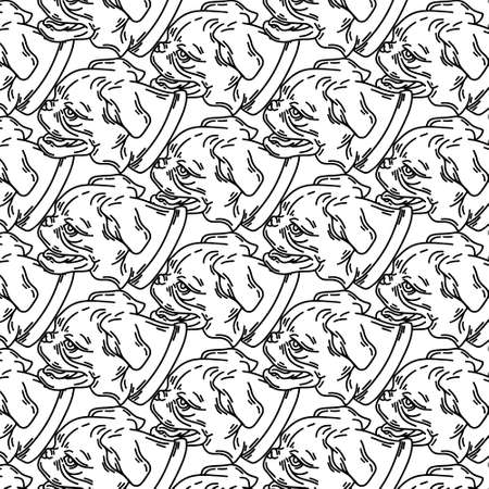 pattern with hand drawn illustration of petit brabancon dog isolated. Tattoo artwork. Template for card, poster, banner, print for t-shirt, pin, badge, patch.