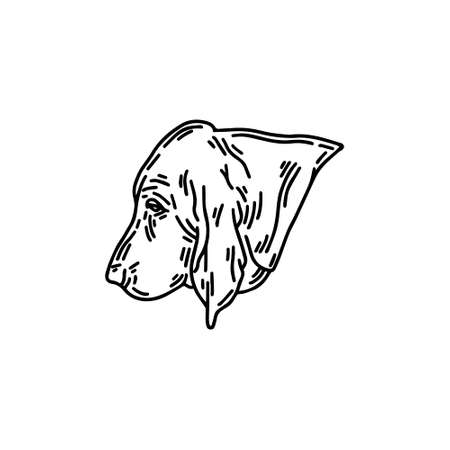 hand drawn illustration of basset dog isolated. Tattoo artwork with dog's profile. Template for card, poster, banner, print for t-shirt, pin, badge, patch.