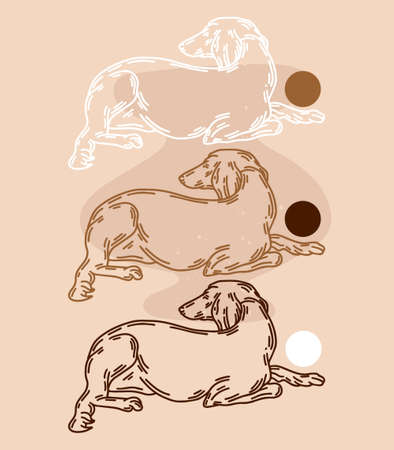 hand drawn abstract illustration of lying Persian greyhound dog isolated. Tattoo artwork. Template for card, poster, banner, print for t-shirt, pin, badge, patch.