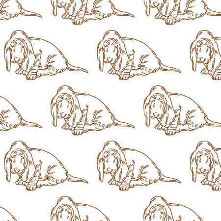 pattern with hand drawn illustration of basset dog isolated. Tattoo artwork. Template for card, poster, banner, print for t-shirt, pin, badge, patch. Stok Fotoğraf - 153420877