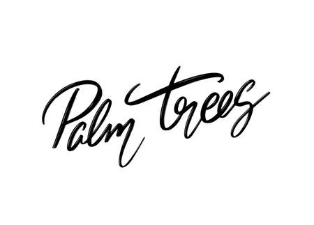 Palm trees. Vector hand drawn lettering isolated. Template for card, poster, banner, print for t-shirt, pin, badge, patch. Stok Fotoğraf - 153041017