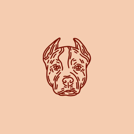 hand drawn illustration of dog isolated. Tattoo artwork. Template for card, poster, banner, print for t-shirt, pin, badge, patch.