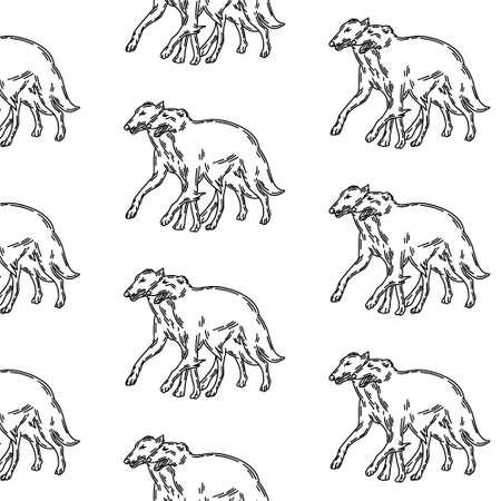 pattern with hand drawn illustration of Russian greyhound dogs isolated. Tattoo artwork. Template for card, poster, banner, print for t-shirt, pin, badge, patch.