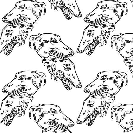 hand drawn illustration of Russian greyhound dogs isolated. Tattoo artwork. Template for card, poster, banner, print for t-shirt, pin, badge, patch. Stok Fotoğraf - 153420205