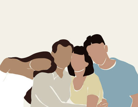 Vector hand drawn minimalistic illustration of family. Creative artwork. Template for card, poster, banner, print for t-shirt, pin, badge, patch. Ilustração