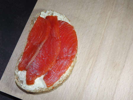 sandwiches with salmon, trout, sockeye salmon, cucumbers, egg and olives. High quality photo Standard-Bild