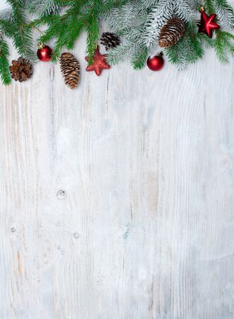 Wooden background for New year and Christmas. Winter holidays concept. Foto de archivo