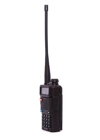 black portable radio transceiver isolated on white background