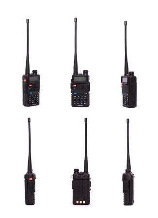 black portable radio transceivers sets isolated on white background