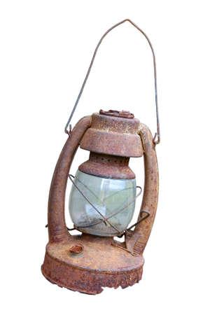 Antiguo candil oxidado en blanco Foto de archivo - 9420391