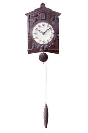 Isolated Old wall watch with cuckoo and weight photo