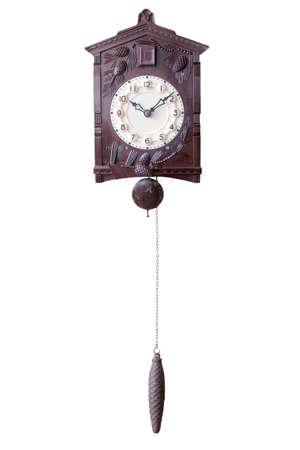 reloj cucu: Reloj de pared antigua aislado con cuco y peso Foto de archivo