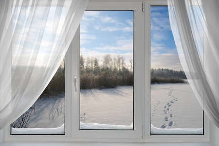 frost: A beautiful view of winter from the window