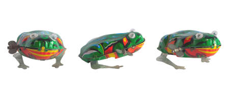 foreshortening: Isolated old retro frog in different foreshortening