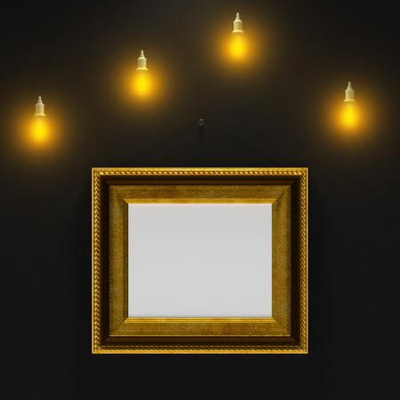 emty: gold emty baget on the black wall