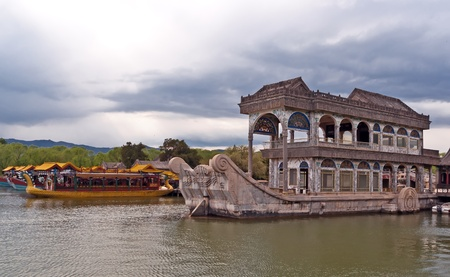 at ease: Boat of Purity and Ease (Marble Boat). Summer Palace, Beijing, China.