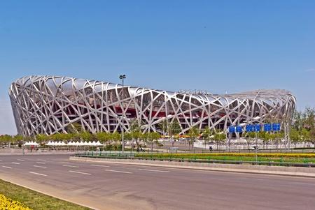 summer olympics: Beijing National Stadium Birds Nest Editorial
